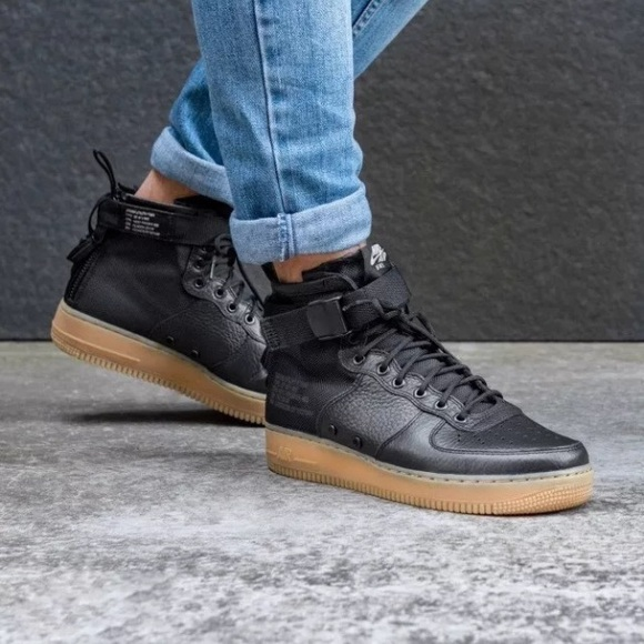 reputable site e0b8f 932c2 Women s Nike Black Air Force 1 Mid Boot Sneakers